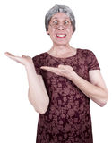 Funny Ugly Mature Senior Woman Present Product Stock Images