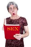 Funny Ugly Mature Senior Woman Shock Surprise Book Stock Photography