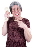 Funny Ugly Woman Call Center, Sales, Tech Support. Concept for telephone sales, phone marketing, technical or tech support. Call now! Funny old ugly mature Stock Image