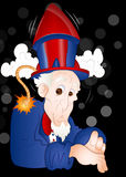 Funny Uncle Sam. Conceptual Art of Cartoon Old Funny Uncle Sam Character Face with Rocket on Head royalty free illustration