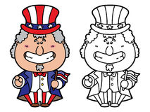 Funny Uncle Sam. Vector illustration coloring page of happy cartoon Uncle Sam which is holding American flag for children and scrap book Stock Photo