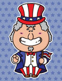 Funny Uncle Sam Wants You. Vector illustration of kawaii Uncle Sam which is holding american flag stock illustration