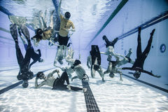 Funny Underwater group Shot of the Staff and Athletes of 2014 Fr Royalty Free Stock Image