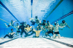 Funny Underwater group Shot of the Staff and Athletes of 2014 Fr Stock Photo