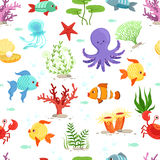 Funny underwater life with sea plants and fishes. Vector seamless pattern. Fish animal in ocean, wallpaper with sea wildlife illustration Royalty Free Stock Photo