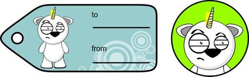 Funny unicorn cartoon sticker giftcard3 Royalty Free Stock Photo