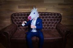 Funny unicorn in elegant suit sits on sofa with bottle of wine royalty free stock image