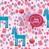 Funny unicorn Happy birthday seamless pattern Stock Photography