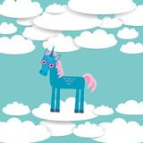 Funny unicorn White clouds on blue sky background. Vector Stock Photography
