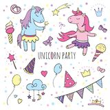 Funny unicorns set, collection of Happy Birthday. Set for party. Cute unicorns with balloons, ice cream, ribbons, clouds and festive hanging flags Royalty Free Stock Image