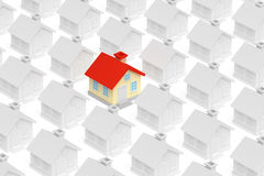 Funny unique house stand out from row of houses Stock Image
