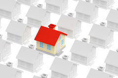 Funny unique house standing out from crowd of houses Stock Image
