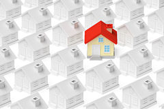 Funny unique house standing out from gray houses crowd Royalty Free Stock Photo