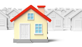 Funny unique house standing out from gray houses Royalty Free Stock Image