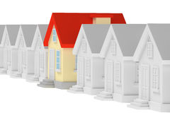 Funny unique house standing in row of gray houses Royalty Free Stock Photography