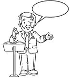Funny univercity lector. With balloon for text. Coloring book of funny univercity lector. A man with a beard is giving a lecture or lesson, or tells something Stock Photo