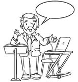 Funny univercity lector. With balloon for text. Coloring book of funny univercity lector. A man with a beard is giving a lecture or lesson, or tells something Royalty Free Stock Photos