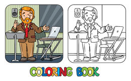 Funny university lecturer. Coloring book Stock Photo