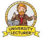Funny university lecturer. Emblem Stock Photography