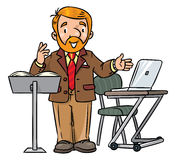 Funny university lecturer. Speaking man Stock Photography