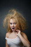 Funny unkempt woman Royalty Free Stock Image