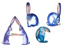 Funny unusual alphabet letters ABCD. In the form of funny blue bright hares watercolor painting for cards, posters, children`s clothing, underwear, for learning Stock Photo