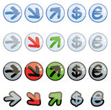 Funny up and down symbols. Set of funny up and down symbols Stock Photography