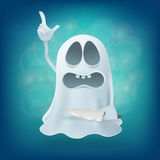 Funny upset cartoon ghost character with knife Royalty Free Stock Image