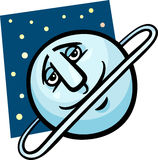 Funny uranus planet cartoon illustration Stock Images