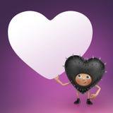 Funny Valentine black heart cartoon holding banner Stock Photo