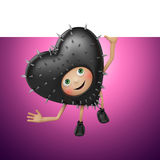 Funny Valentine black heart cartoon holding banner and looking up Royalty Free Stock Images