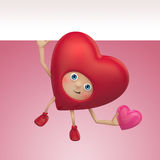 Funny Valentine heart cartoon with banner Royalty Free Stock Images