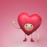 Funny Valentine heart cartoon character Royalty Free Stock Photos