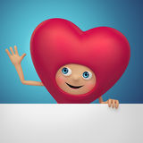 Funny Valentine heart cartoon holding blank banner Royalty Free Stock Images