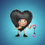 Funny Valentine heart cartoon holding handcuffs Stock Photography
