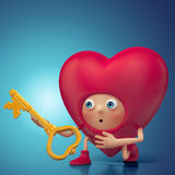 Funny Valentine heart cartoon holding key Royalty Free Stock Image