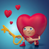Funny Valentine heart cartoon proposal Royalty Free Stock Photography