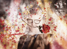 Funny valentine nerd caught in net of romance Royalty Free Stock Images