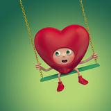 Funny Valentine red heart cartoon Royalty Free Stock Photos