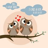 Funny Valentine`s day card with birds couple stock illustration