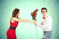 Funny Valentine's Day. Funny Valentine's Day, series of different approaching acts Royalty Free Stock Image