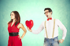 Funny Valentine's Day. Funny Valentine's Day, series of different approaching acts Stock Photography