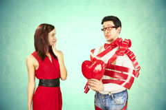 Funny Valentine's Day, series of different approaching acts. Valentine's Day, series of different approaching acts Stock Photo