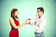 Funny Valentine's Day, series of different approaching acts Stock Photos