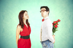 Funny Valentine's Day. Funny Valentine's Day, series of different approaching acts Royalty Free Stock Images