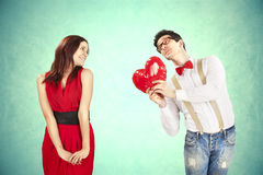 Funny Valentine's Day. Series of different approaching acts Stock Image