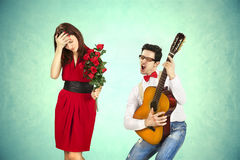 Funny Valentine's Day. Series of different approaching acts Royalty Free Stock Photography