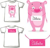 Funny valentine shirt with pink monster teddy vector design printed Stock Photo