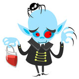 Funny vampire holding bag of blood. Halloween vector dracula illustration Stock Images