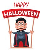 Funny vampire holds Happy Halloween banner. Cartoon styled vector illustration. No gradient or transparent objects. Isolated on white Royalty Free Stock Photo